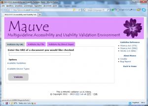 Screenshot del validatore di accessibilità MAUVE